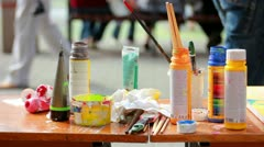 Paints table Stock Footage