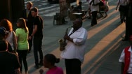 Stock Video Footage of Saxophone player busking on the streets of New York