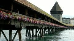 Chapel Bridge landmark in Luzern Switzerland Stock Footage