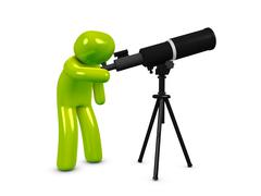 Stock Illustration of astronomer with telescope