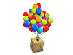 conceptual wooden box balloon delivery - stock illustration