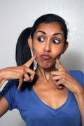 Beautiful Multiracial Woman with Comical Facial Expression (4) - stock photo