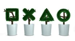 Bonsai tree, the button Stock Illustration
