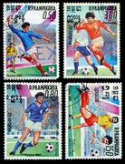 mexico - circa 1985: a stamp printed in the mexico shows a two football playe - stock photo