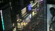 Stock Video Footage of Times Square at night high angle view