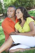 african american woman & man couple outside - stock photo