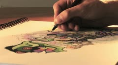Sketching on Paper - Close Up 3 HD Stock Footage