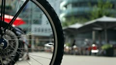 Bicycle rack in city street Stock Footage