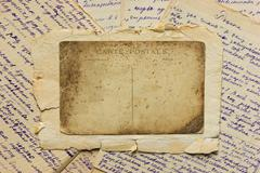 vintage postcard and letters - stock photo