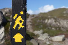 Yellow trekking sign on a wooden pole Stock Photos