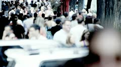 Streets Busy with Tourists Commuters Stock Footage