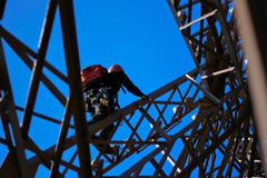 Maintenance on the eiffel tower Stock Photos