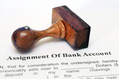 Assignment of bank account Stock Photos