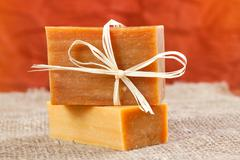 Natural handmade soap tied with a ribbon Stock Photos