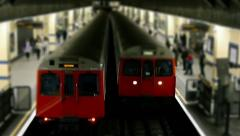 London Underground Trains Passing Tilt Shift Stock Footage