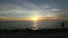 Sunset on the ocean Key West Florida Stock Footage