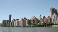 Upper East Side Manhattan as seen from Roosevelt Island Stock Footage