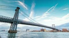 Williamsburg Bridge New York City Timelapse Beautiful NYC Day to Night 24 Hours Stock Footage
