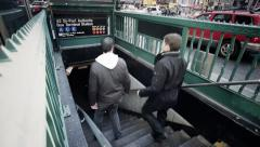 New York City Subway Entrance - People Walking In - NYC Stock Footage