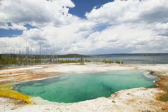 abyss pool at west thumb geyser basin, yellowstone - stock photo