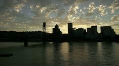 Timelapse of Portland Oregon Downtown Skyline with Draw Bridge Stock Footage