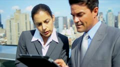 Handshake on business meeting management team using tablet on rooftop  Stock Footage