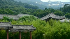 China ancient architecture in bamboo forest. Stock Footage