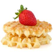 waffles and strawberry - stock photo