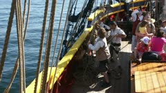 Crew resets headsails  14602-1 Stock Footage