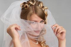 close-up of face of fiancee with make-up - stock photo