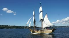 The Lady Washington sails on Lake Washington 13982-1 Stock Footage