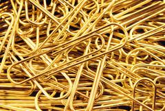 Close-up detail of paperclips Stock Photos