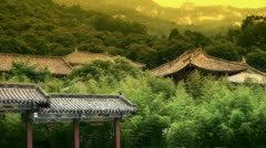 China ancient architecture in bamboo forest. - stock footage