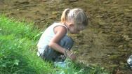 Child Playing in River on a Hot Day, Little Girl Bathing in the River, Children  Stock Footage