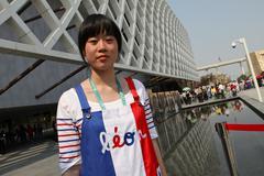 Chinese hostess Shanghai Expo Stock Photos