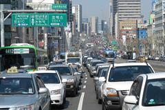 Seoul traffic jam - stock photo