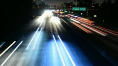 Time Lapse of Traffic heading towards Los Angeles City at Night - stock footage