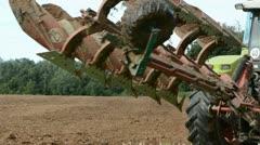 Tractor plowed autumn farm field Stock Footage