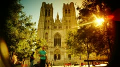 Brussels cathedrale in sunrise Stock Footage