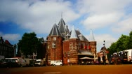 Waag time-lapse in Amsterdam, Holland, , Netherlands Stock Footage