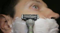Razor shaves pov close up Stock Footage