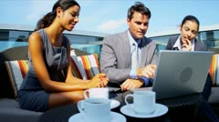 Multi ethnic business management closing contract handshake outdoors meeting  Stock Footage