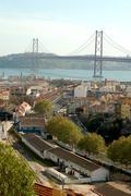 Lisbon, bridge 25 of Abril - stock photo