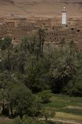 Panorama of a village among Moroccan hills Stock Photos