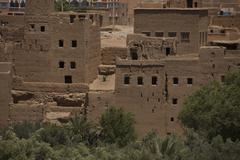 village among Moroccan Atlas hills - stock photo