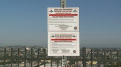 West Nile Warning Sign in Los Angeles Stock Footage