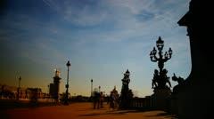 Scenes of Paris, views of the Alexander Bridge, time-lapse Stock Footage