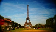 Scenes of Paris, views of the Eiffel Tower, time-lapse Stock Footage