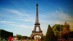 Scenes of Paris, views of the Eiffel Tower, time lapse view - stock footage