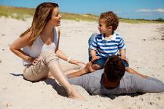 couple spending summer with son - stock photo